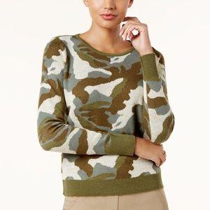 Metallic Camo-Print Sweater Olive Drab S